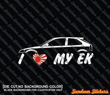 2X I love MY EK car silhouette stickers - for Honda Civic EK | ek9 JDM Type-R