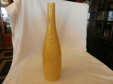 "14"" Tall Yellow Ceramic Flower Vase With Embossed Flowers Bottle Shape"