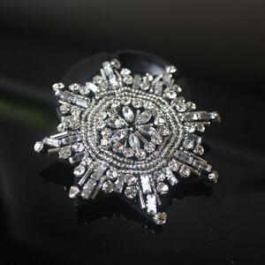 Beaded Snowflake Patches Sew on Applique Clothing Jacket Bag Xmas Decor Badge