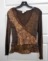 Alberto Makali sz Small Brown Animal Multi Lace Beaded V-neck Top