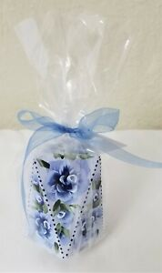 Geometric Pillar Candle Shabby Chic Blue Roses Hand Painted