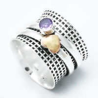 Solid 925 Sterling Silver Spinner Ring Statement Ring Size Amethyst Stone s2222