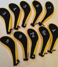 10 néoprène JL club de golf headcovers head cover fer protéger ensemble noir jaune