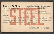 DATED 1903 PC PITTSBURGH PA HOGAN & SON DISTRIBUTORS SALESMAN CALLING CARD