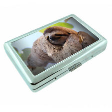 Cute Sloth Images D8 Silver Metal Cigarette Case RFID Protection Wallet