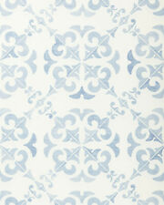 New $148 roll - Serena & Lily Wentworth Wallpaper - blue white - tile print