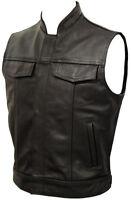 Mens Anarchy Motorcycle Biker Waistcoat Full Real Leather Black Vest Jacket Cut