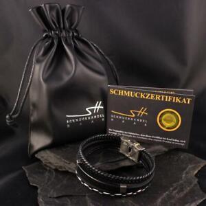 Men Bracelet Leather Stainless, 3-teilig, IN Jewellery Bags, Schmuckhandel Haak