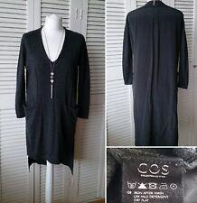 Cos Merino Wool Dress with Silk Back Dark Grey Size S Scandi Nordic Lagenlook