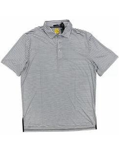 RLX Men's Ralph Lauren Polo Golf Shirt UPF Wicking Grey White Stripe Xl
