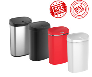 Trash Can Motion Sensor 13 Gallon Stainless Steel Kitchen Garbage Hands Free Lid