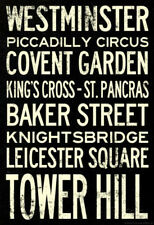 London Underground Vintage Stations Travel Poster Poster Print, 13x19