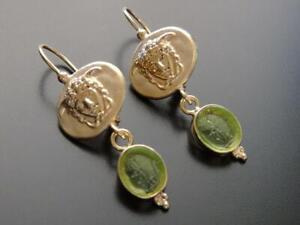 TAGLIAMONTE Earrings YGP/SS Medusa Cameo+green Venetian Cameo leverback drops