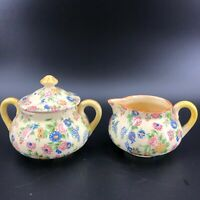 Vintage Chintz Sugar Bowl & Creamer Two Piece Set Made in Japan Floral Tea Coffe