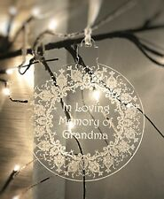 Personalised Laser Cut & Engraved Clear Bauble - In Memory Of - Christmas