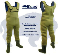 NEW BISON 5MM NEOPRENE FELT SOLE CHEST WADERS ALL SIZES