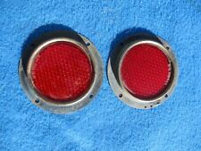 Vintage Original KD TRIFLEX Red Glass Reflectors Very Nice Used Pair