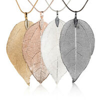 Women's Special Leaves Leaf Sweater Pendant Necklace Ladies Long Chain Jewelry