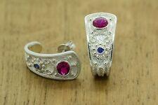 Etruscan Earrings 925 Solid Sterling Silver Rubies-Sapphires Huggie
