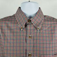 Brooks Brothers 1818 Regular Fit Non Iron Blue Red Check Dress Button Shirt Sz M