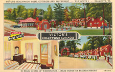 Falmouth,VA.Victor's Hollywood Hotel,Cottages & Restaurant,Amoco Gas,Linen,1940s
