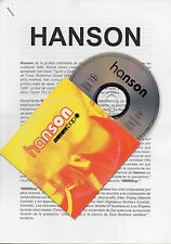 "HANSON ""MMMBOP"" ULTRA RARESPANISH PROMO CD SINGLE + PRESS DOSSIER / ZAC - TAYLOR"