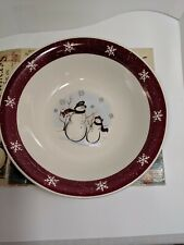 "ROYAL SEASONS~Snowman Snowflakes 10"" round Serving Bowl with Box Christmas"