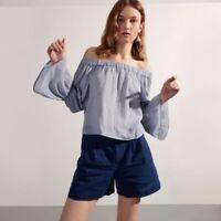 Club Monaco Off Shoulders Ruffle Striped Cotton Top Blue Women's Size 8 Medium