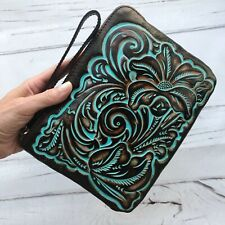 Patricia Nash Wristlet Tooled Leather Turquoise Teal Wallet Clutch brown New
