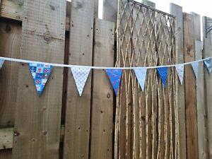 New handmade bunting beach/nautical fabric blues/white,3.5mtr, garden,house (35)