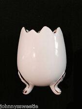 Cracked Egg Shape Japan White Gold Footed Vase Porcelain Vtg Porcelain China EUC