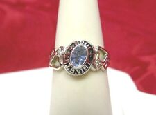14K WHITE GOLD RING 1989 ABINGTON HIGH SCHOOL DIAMOND AND AQUAMARINE RING SZ 6.5