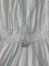 Turquoise and Silver Boho Body Chain with Paisley/Flower Hanging Charm