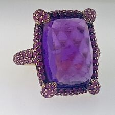 .12.34CTW CUSHION CUT AMETHYST+MICRO PAVE SET RUBY~18KT ROSE GOLD COCKTAIL RING!