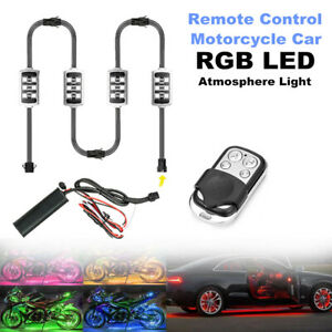 4PCS Motorcycle Car RGB LED Atmosphere Light Remote Control Smart Brake Light