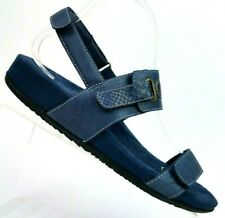 SoftWalk Bimmer Blue Leather Ankle Strap Sandals Snake Print Strap Women's 8 M