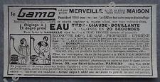 Publicité  GAMO Eau chaude à gaz   1927 advert