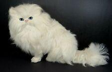 "Realistic White Persian Cat Figure Real Goat Fur 8x13"" Statue"
