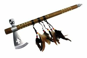 """19"""" Native Indian Tomahawk Axe Useable Pipe with Feather Décor Collectable"""