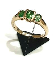 BEAUTIFUL SECONDHAND  9ct YELLOW GOLD PERIDOT TRILOGY RING SIZE N