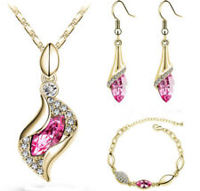 Women Silver Pink Crystal Jewelry Drop Pendant Necklace Earrings Wedding Kits