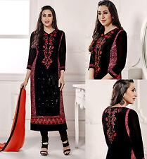 BLACK GRGT INDIAN LONG SALWAR KAMEEZ SUIT PARTY DRESS MATERIAL w EMBR LADIES DEN