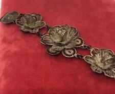 """Vintage Sterling Silver Bracelet 925 Filigree Flower 7"""""""