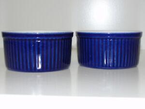 "Lot of 2- Emile Henry France Ramekin 10-08 Blue Cobalt & White 3 1/2""D x 1 3/4""H"