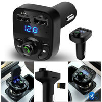 Wireless BT Handsfree Car Kit FM Transmitter MP3 Player Dual USB Charger Black