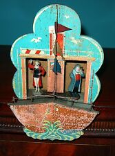 Extremely RARE German Wooden Weather House SHIP with Woman of the Night/Sailor
