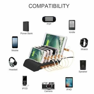 Universal 6 Port USB 10.2A Charger Charging Station Stand For iPhone Android Tab