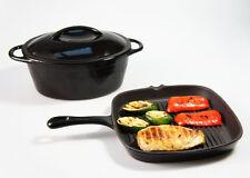 SET - 24cm 2.8L BLACK CAST IRON OVAL CASSEROLE DISH POT + SKILLET GRIDDLE PAN
