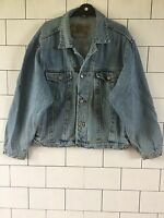VINTAGE RETRO DISTRESSED STONEWASHED 90'S TRUCKER BLUE MENS DENIM JACKET LARGE