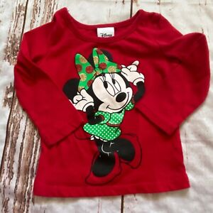 Disney Minnie Mouse infant girl holiday shirt-red-12 months-guc